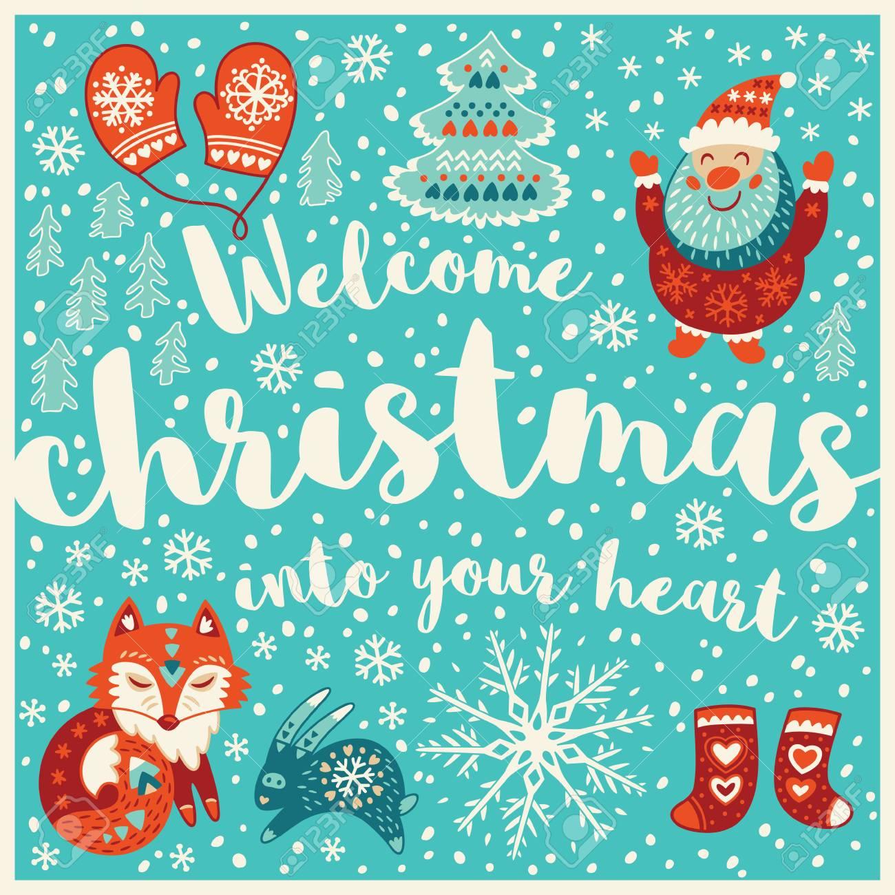 Willkommen Weihnachten In Ihrem Herzen. Feiertagswünsche Hintergrund ...