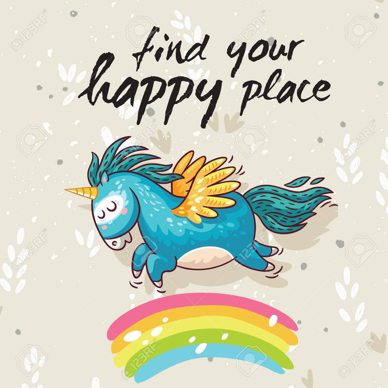 Vector card with unicorn, rainbow, stars, decor elements and text Find your happy place. This illustration can be used as a greeting card, poster or print - 52886187