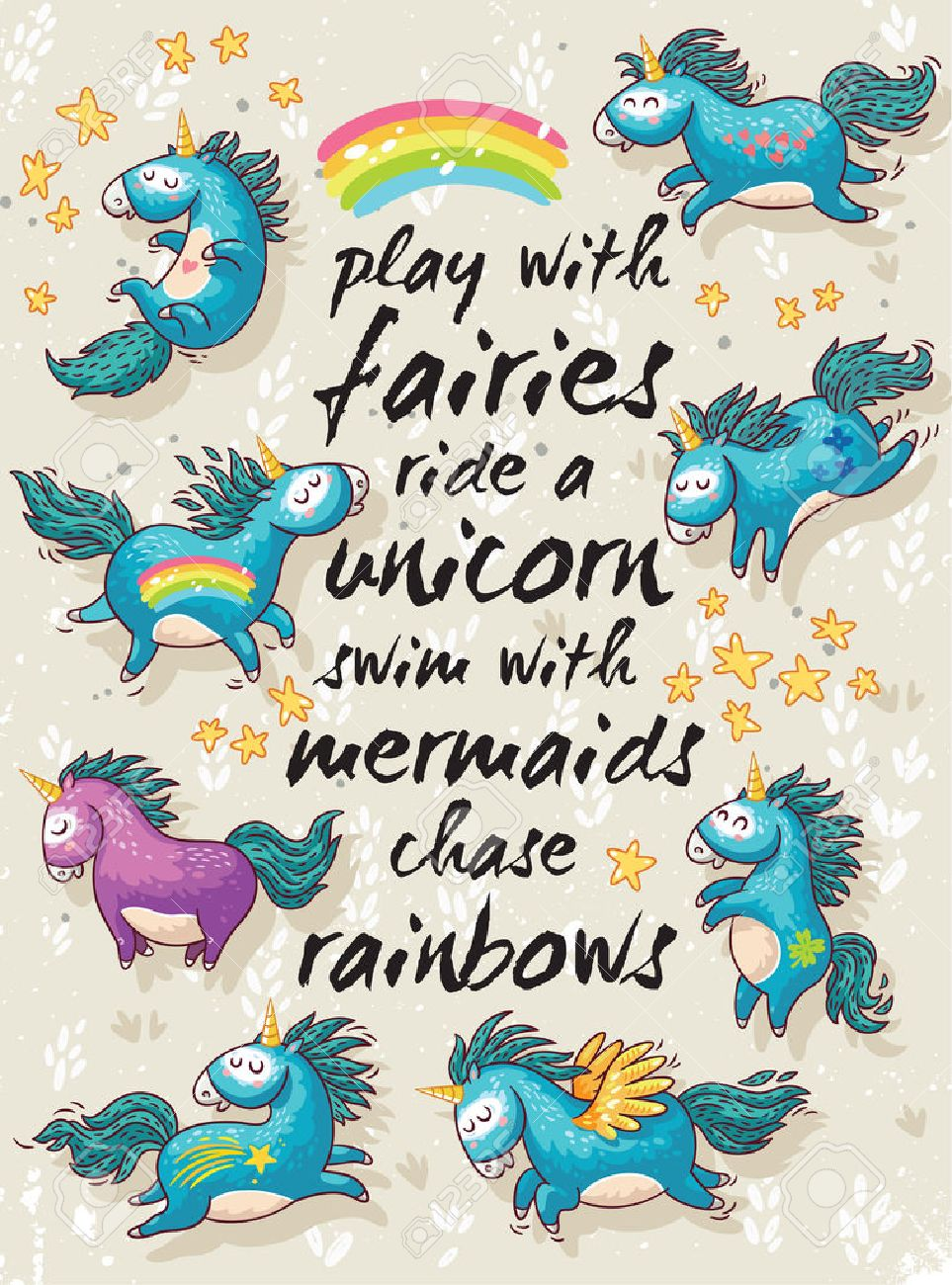 Vector card with unicorns, rainbow, stars, decor elements and text. Play with fairies, ride a unicorn, swim with mermaids, chase rainbows. Childish background with cartoon character - 52887591