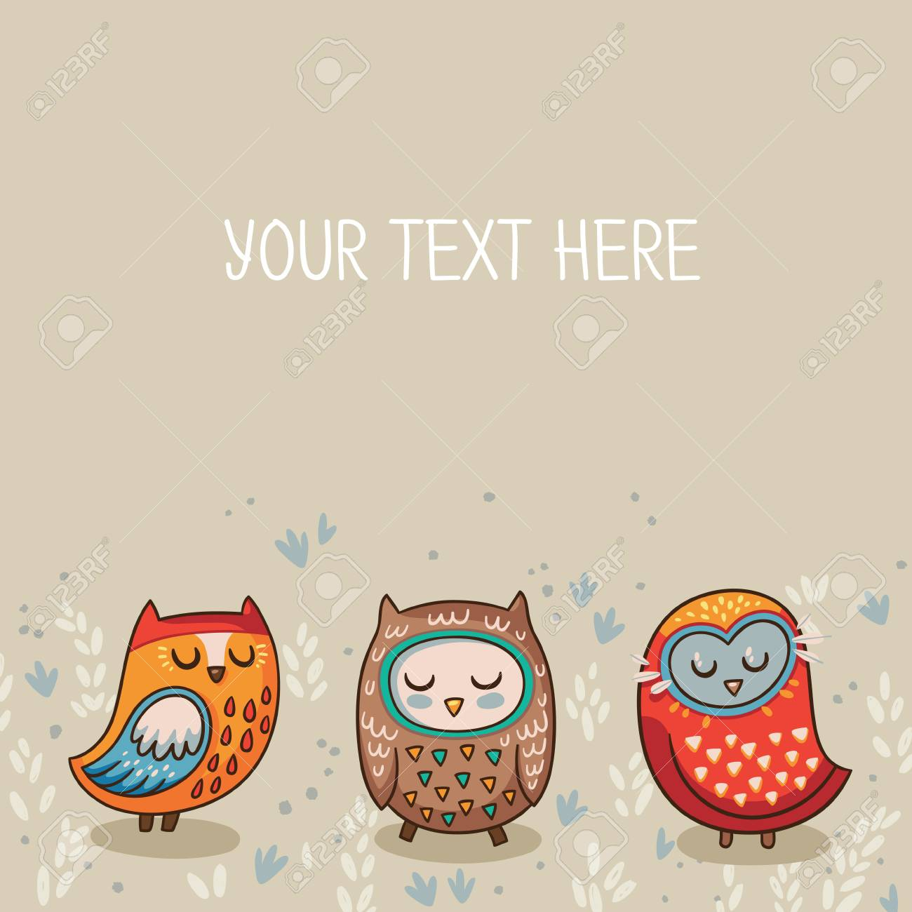 Owls Cute Greeting Card And Sample Text Template For Design