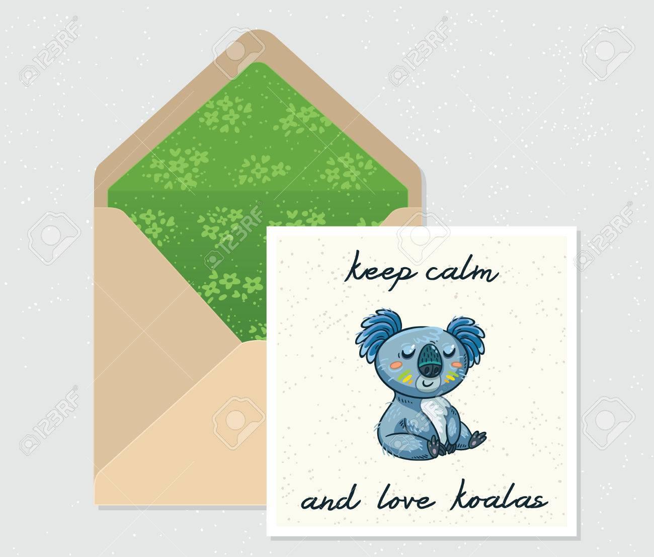 Disfrutar Del Día. Sobre Y Tarjeta Con Linda Del Oso De Koala De ...
