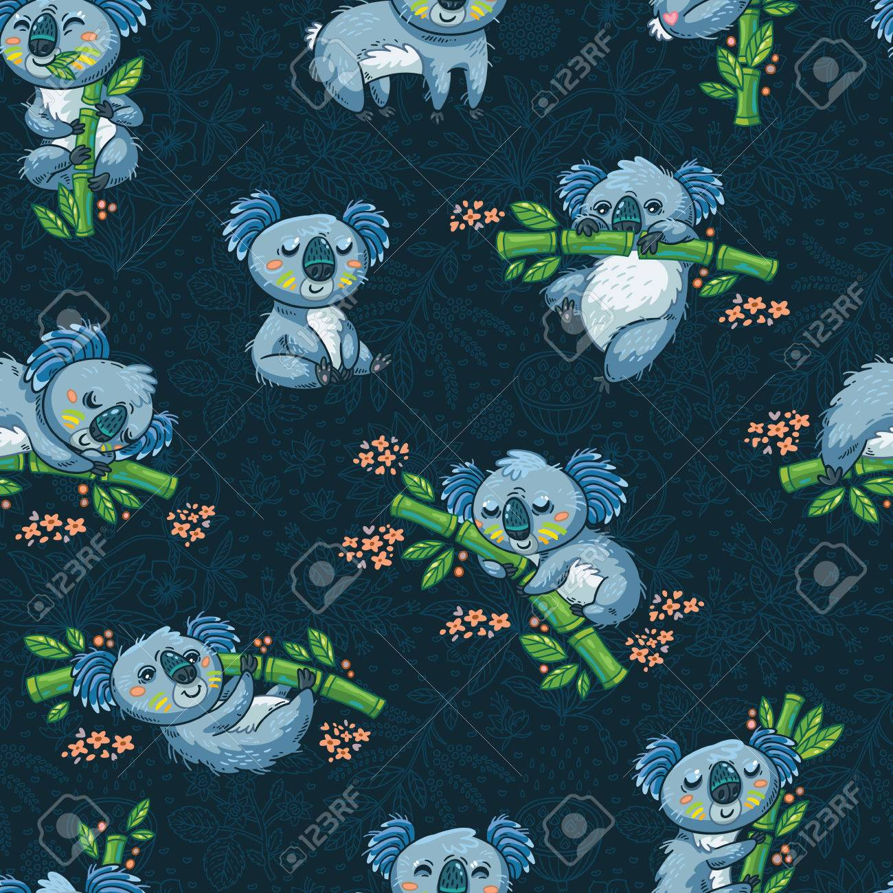 Most Inspiring Wallpaper Koala Cartoon - 55717569-adorable-seamless-pattern-with-cute-koalas-in-cartoon-ideal-for-cards-wallpapers-invitations-party-b  Pic_94322   .jpg