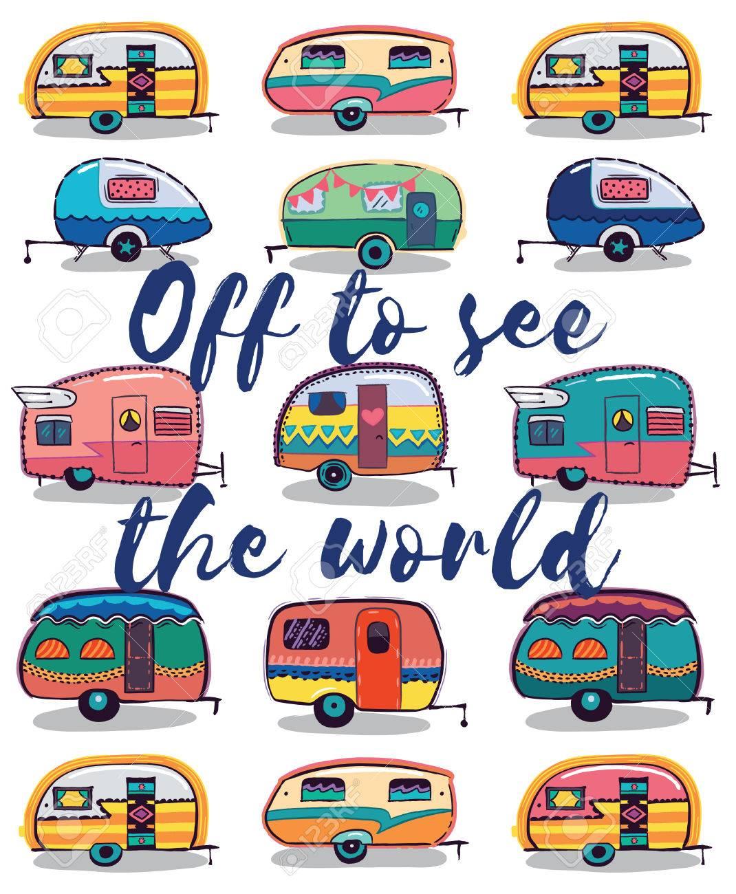 Retro Camper Fun. Happy Camper Card. Camping Travels Greeting Card. Cute little vintage travel trailers caravan. Vector illustration - 56645270