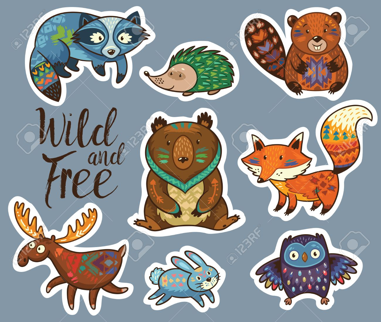 Multicolored Stickers Forest Critters 679924453812