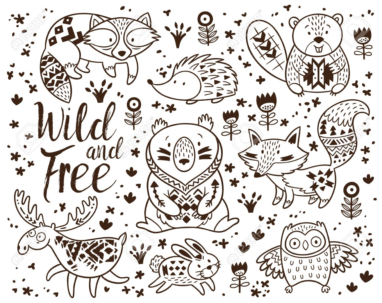 Woodland Animal Coloring Pages For Kids Hand Drawn Vector On