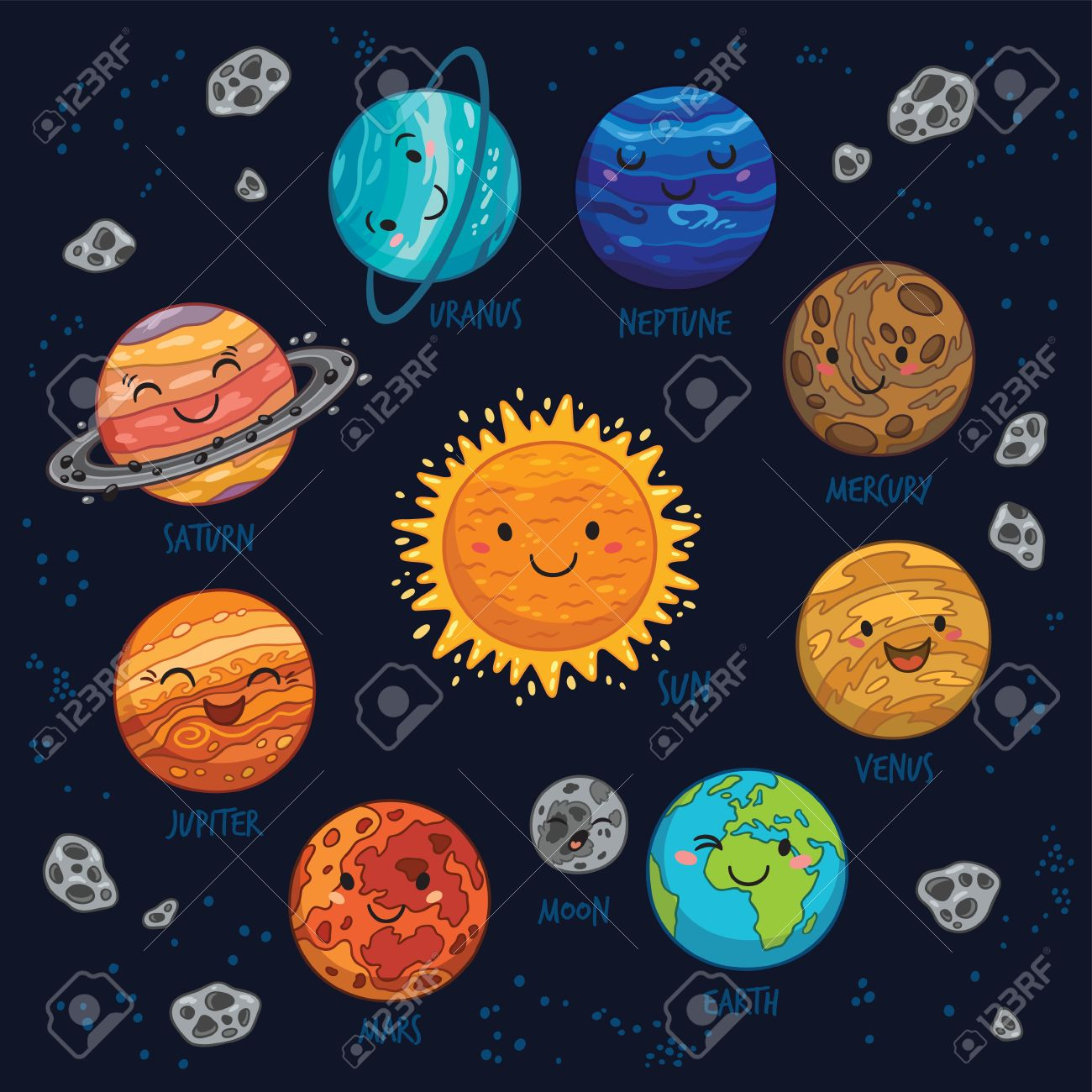 Cartoon planet of solar system - Sun, Mercury, Venus, Earth, Mars, Jupiter and Saturn, Uranus and Neptune. Planet vector set. Planets collection silhouette. - 58720394