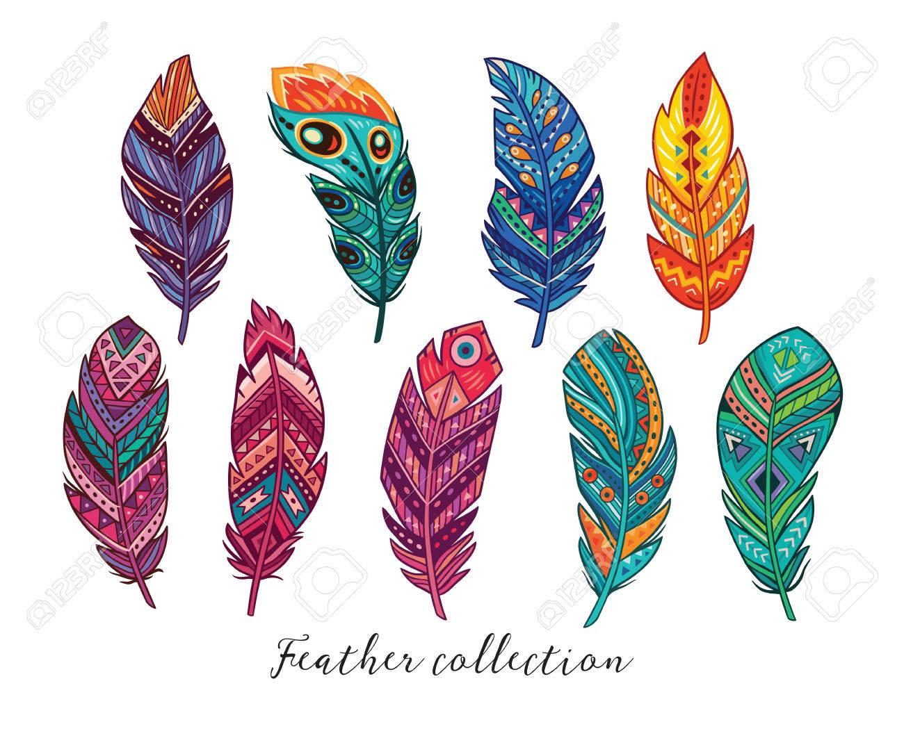 Plumas Indias Americanas Nativas. Conjunto De Plumas Decorativas ...
