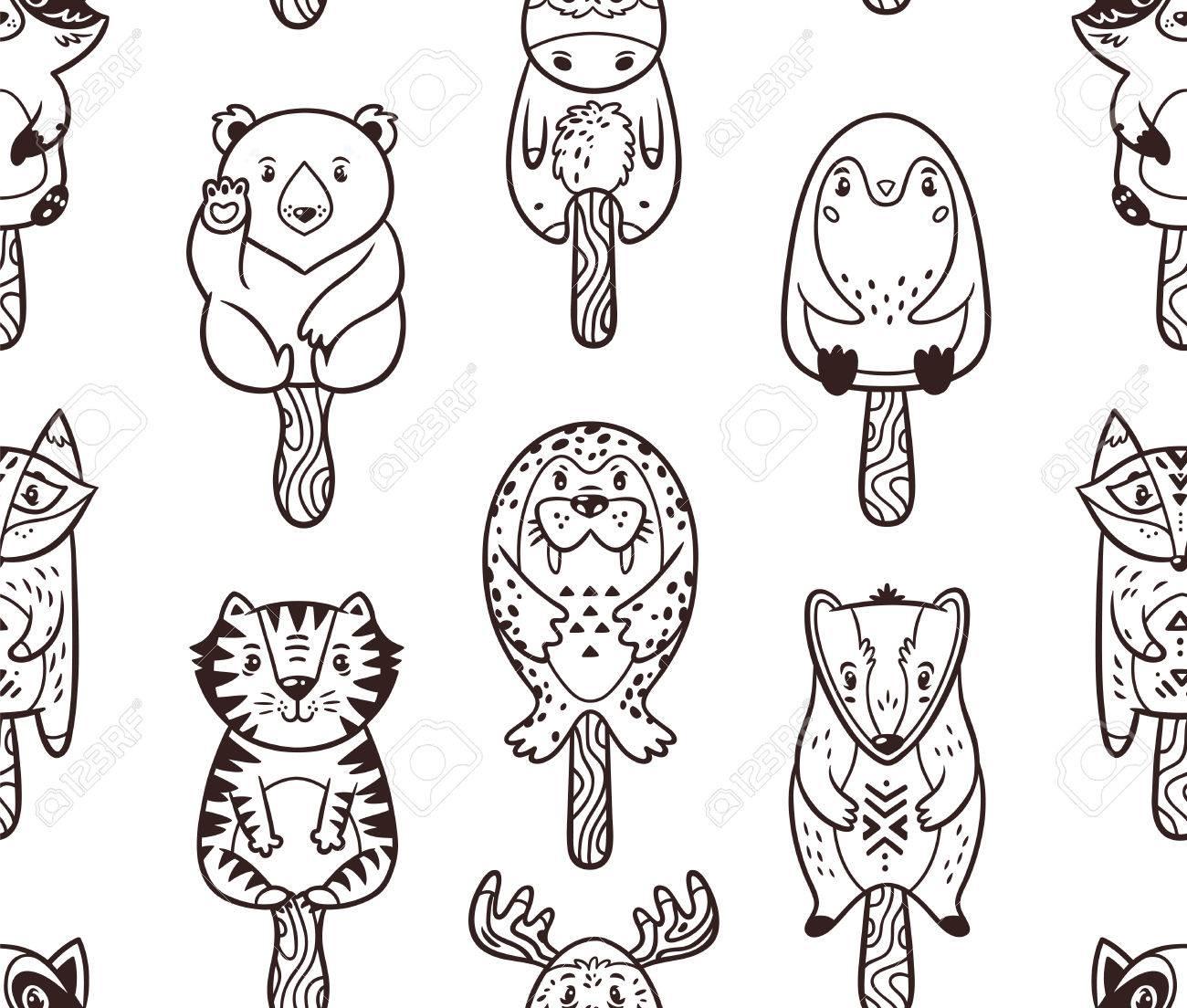 Patrón Del Polo De Hielo Con Animales De Dibujos Animados. Fondo ...