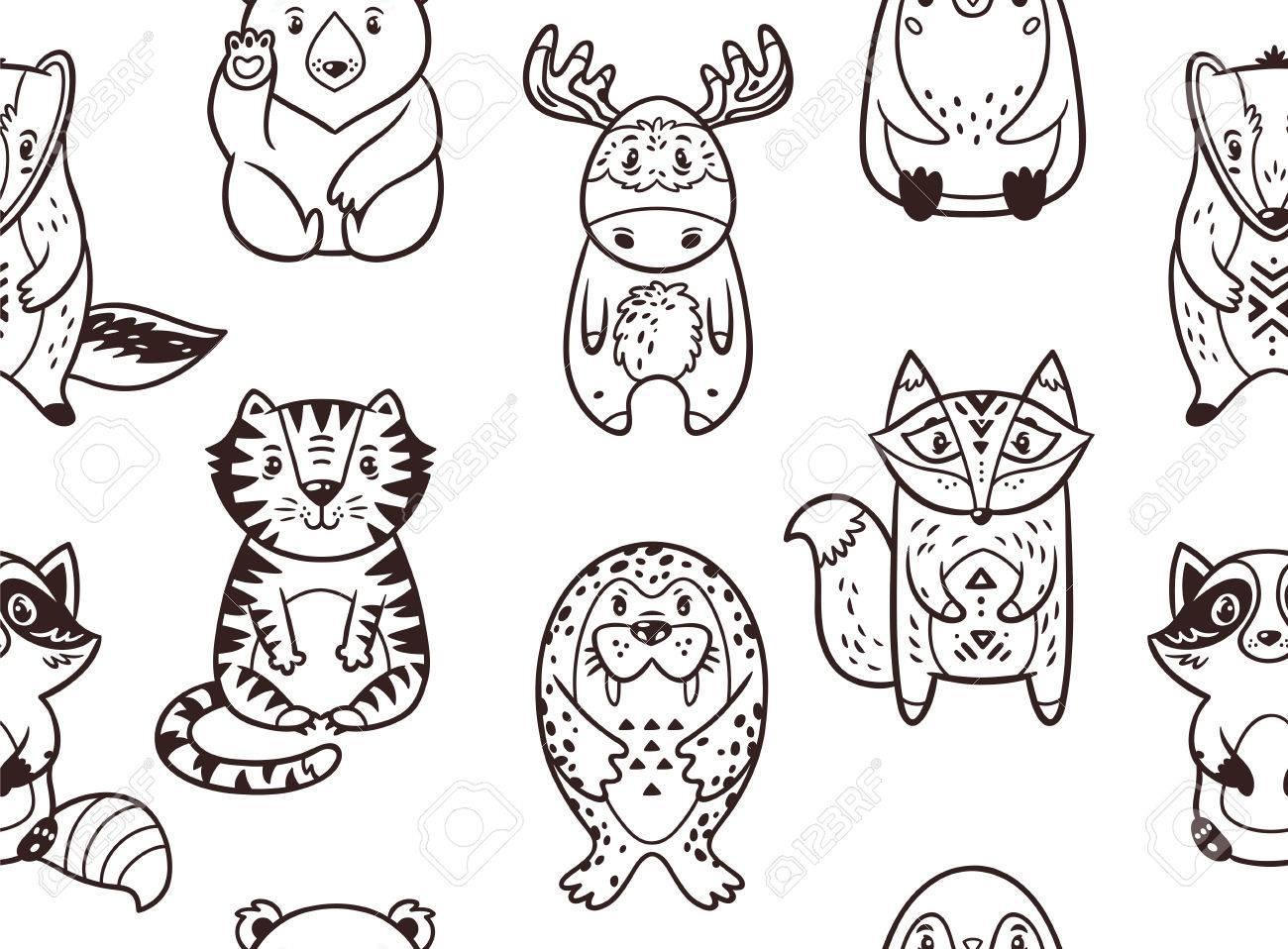 Modelo Inconsútil Con Los Animales De Dibujos Animados El Mapache Oso Polar Alces Pingüino Zorro Tigre La Morsa Y El Tejón Fondo Blanco Y