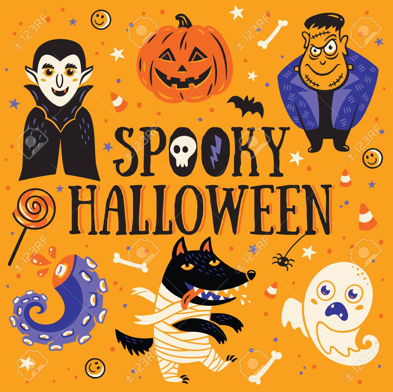 Spooky Halloween Poster Or Greeting Card With Cartoon Dracula And  Frankenstein, Pumpkin, Wolf,