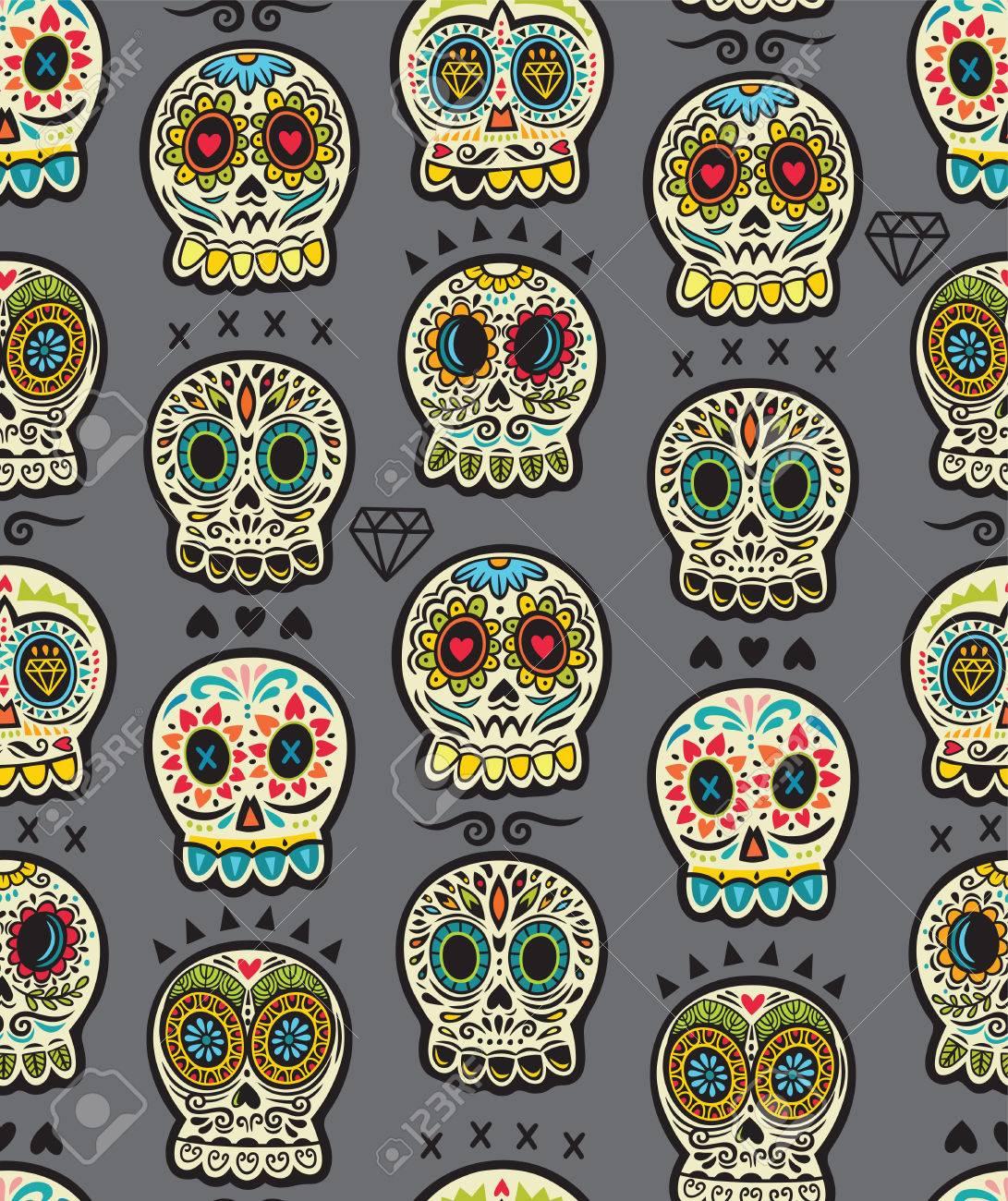 Sin Patrón Día De Los Muertos Calaveras De Dibujos Animados Del