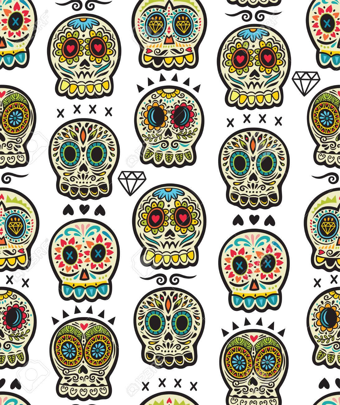 The Seamless Pattern Of Day Dead A Traditional Holiday