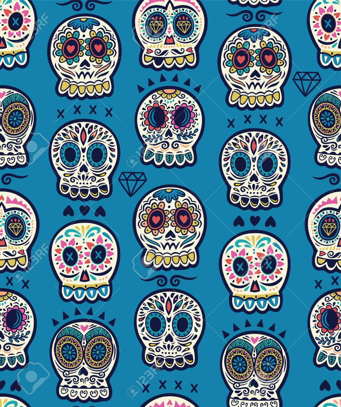 Seamless Pattern Day Of The Dead Cartoon Calaveras Sugar Skull