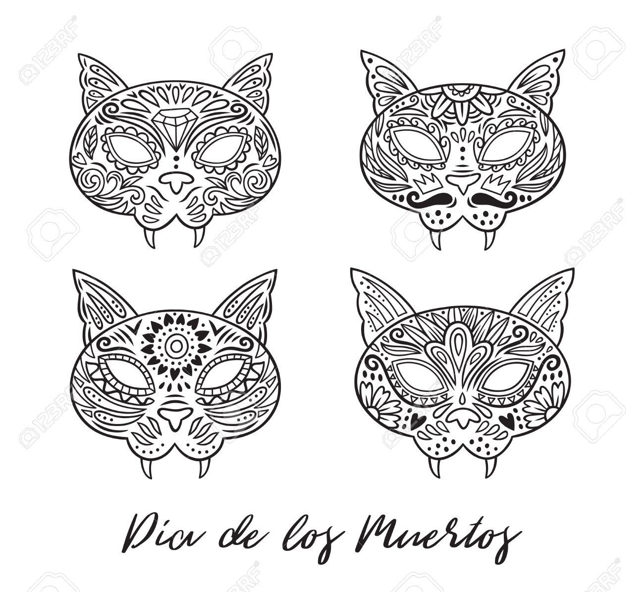 Cat Zucker Mexikanischen Schädel Gesetzt. Vektor-Illustration ...
