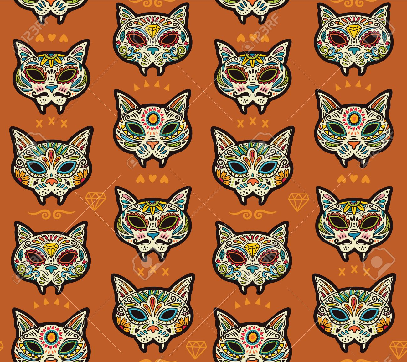 Seamless Pattern Day Of The Dead Cartoon Calaveras Sugar Cat