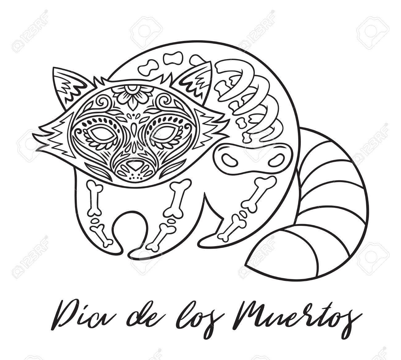 Waschbär Zucker Mexikanischen Schädel. Vektor-Illustration ...