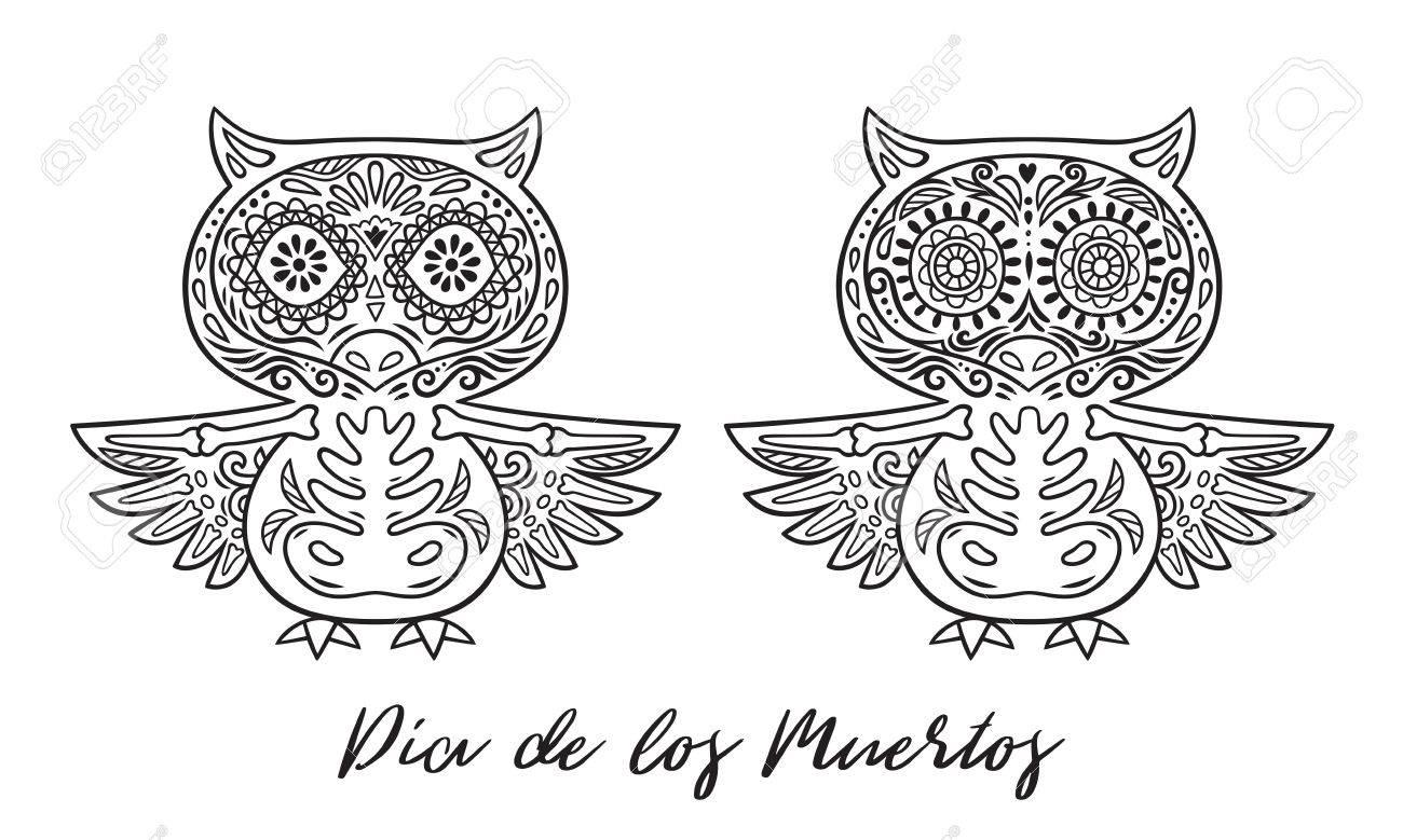 Azúcar Búho Calaveras Mexicanas Establecen. Ilustración Del Vector ...