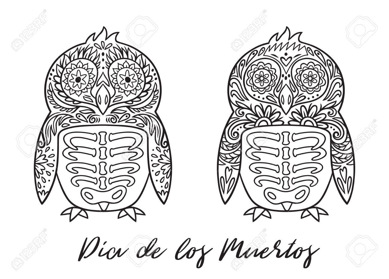 Penguin Zucker Mexikanischen Schädel Gesetzt. Vektor-Illustration ...