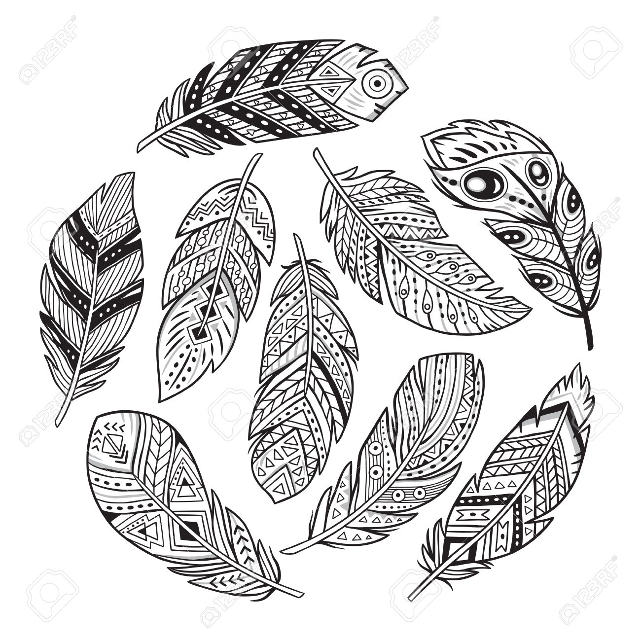 Vector Outline Set With Tribal Indian And Aztec Hipster Boho