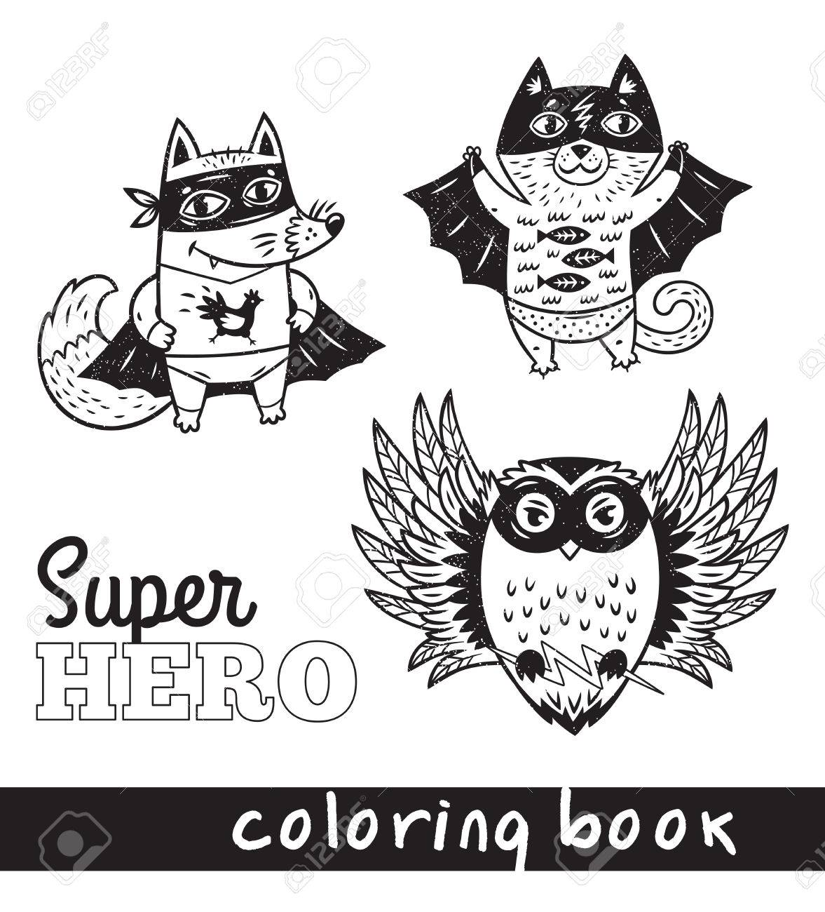 Schwarz-Weiß-Vektor-Illustration. Hand Gezeichnet Fuchs, Katze Und ...