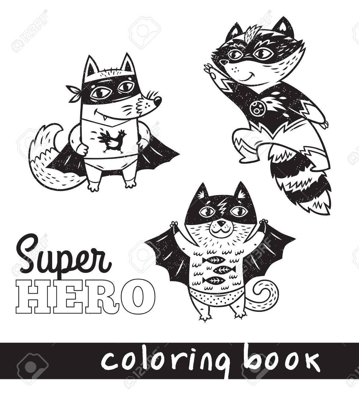Coloring Book Page With Cartoon Comic Animals Black And White Illustration Hand Drawn Fox Cat Raccoon In Superheroes Costume