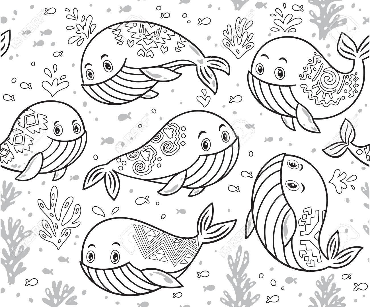 Esquema De La Vida Del Mar Con Las Ballenas Y Peces Pequeños. Fondo ...