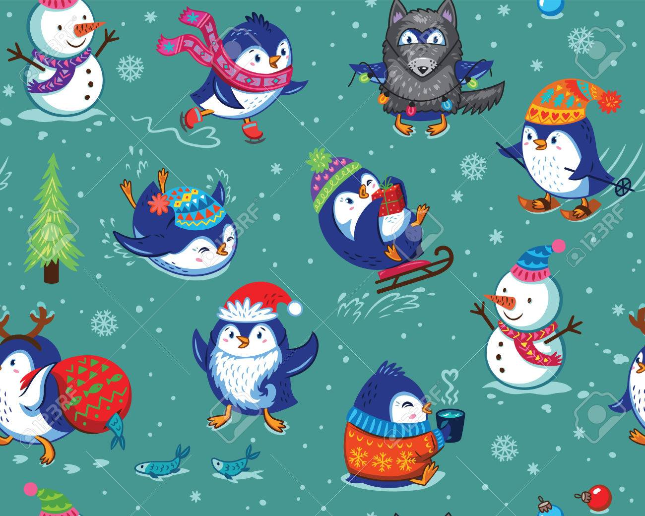Cute Christmas Seamless Pattern With Skating Penguins, Snowmans ...