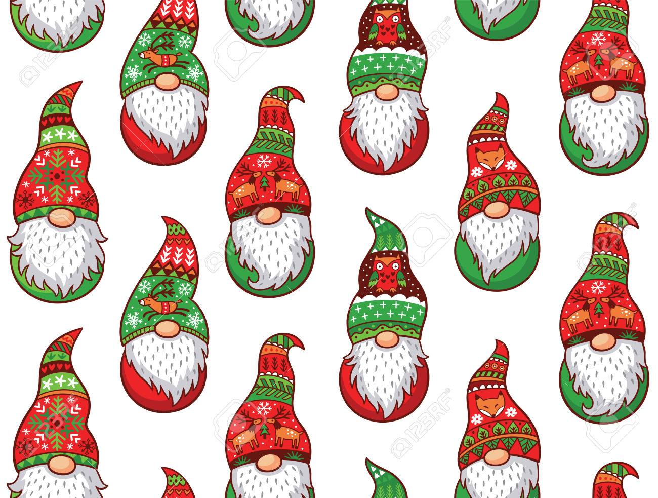 Christmas Gnomes.Christmas Gnomes In Red And Green Hat With Different Ornaments