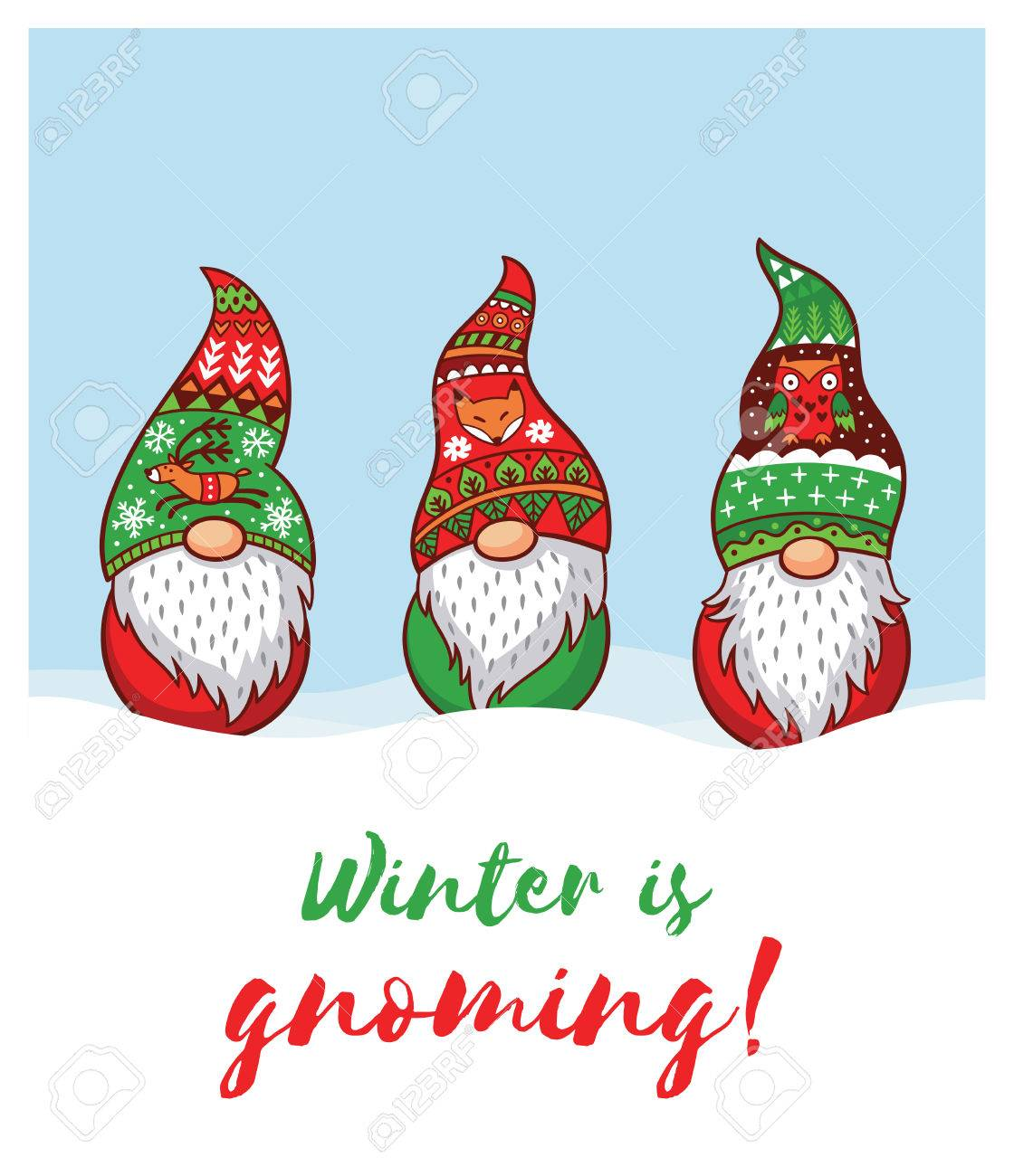 winter is gnoming happy holidays card with trolls gnomes cute