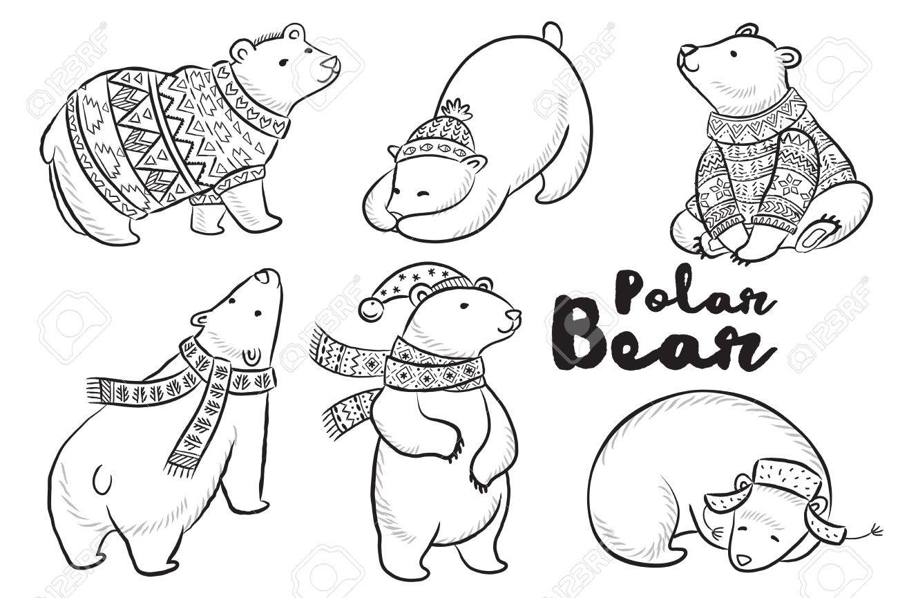 Coloring Book Page Outline Set Of Polar Bears In Sweater Scarf And Hat With Ornaments Cute Characters