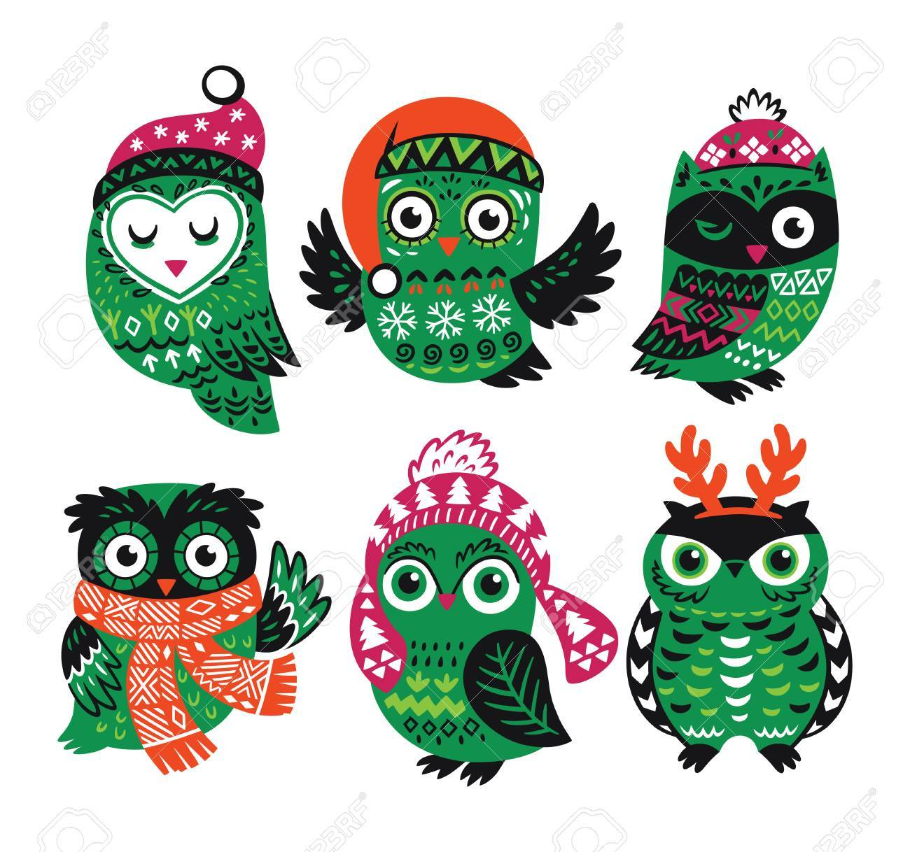 Cute cartoon owls in knitted hats scarves and reindeer antlers cute cartoon owls in knitted hats scarves and reindeer antlers vector illustration vintage voltagebd Images