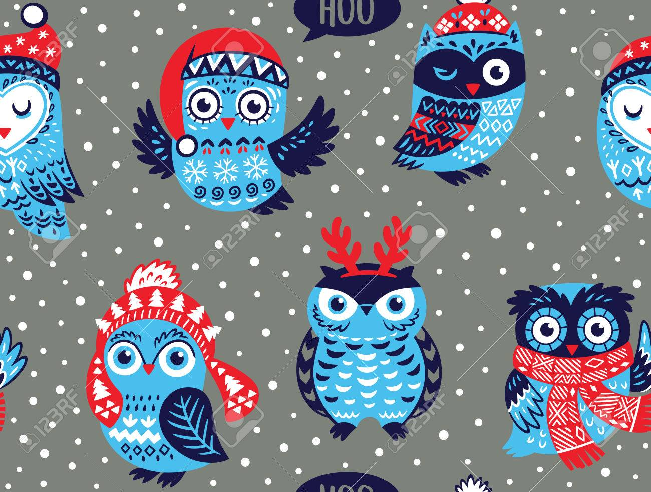 Christmas Seamless Pattern With Cute Owls In Knitted Hats Scarves