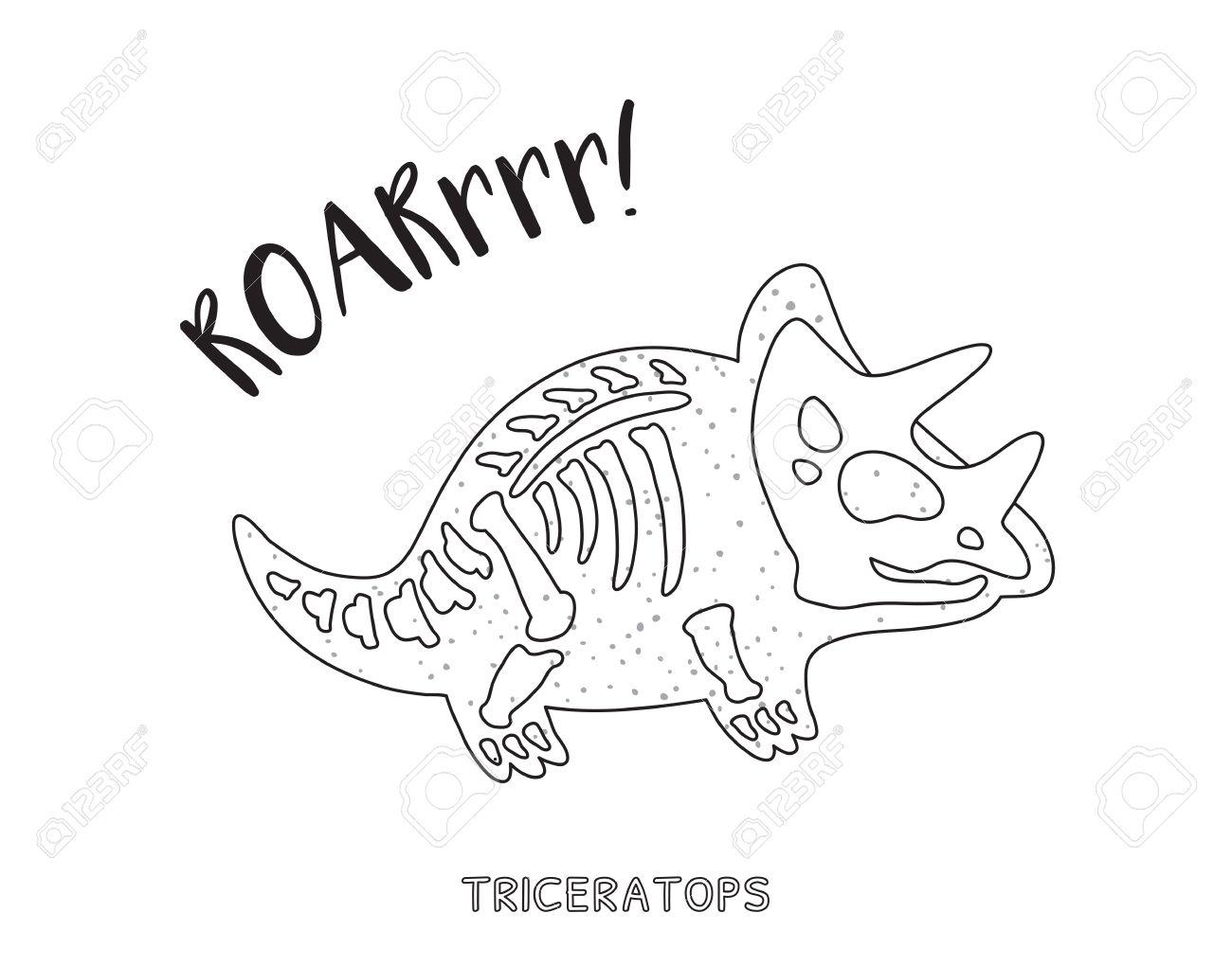 Coloriage Dinosaure Fossiles.Triceratops Dessin Squelette Contour Fossil D Un Squelette De