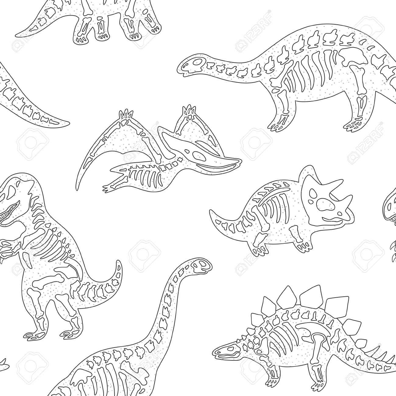 Black And White Hand Drawn Fossil Dinosaurs Seamless Pattern Royalty ...