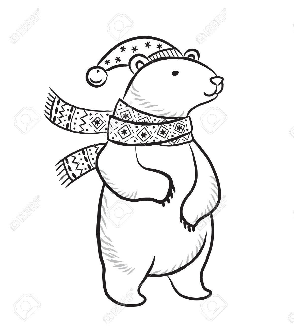 hand drawn outline print with polar bear in winter scarf and