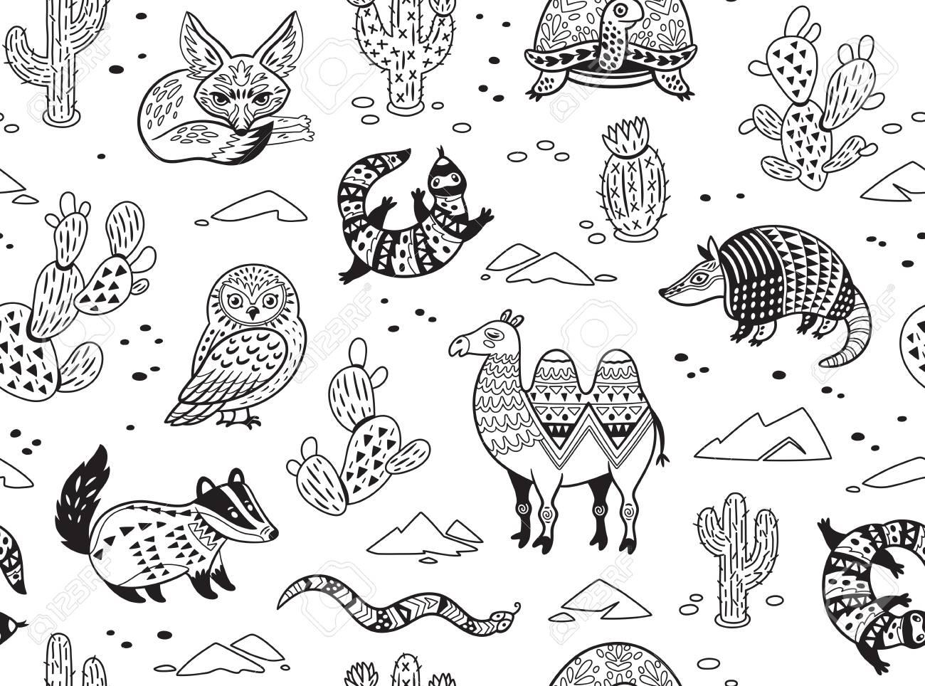 Esquema Sin Patrón De Los Animales Del Desierto Con Adornos Tribales étnicos Ilustración Vectorial Ornamental En Estilo étnico Tribal Para