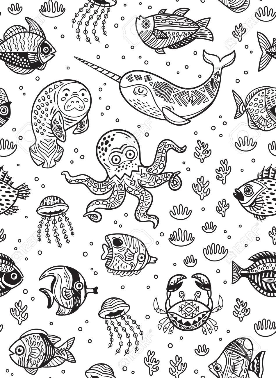 Patrón Sin Costuras De Animales Acuáticos Para Niños Libro Para ...