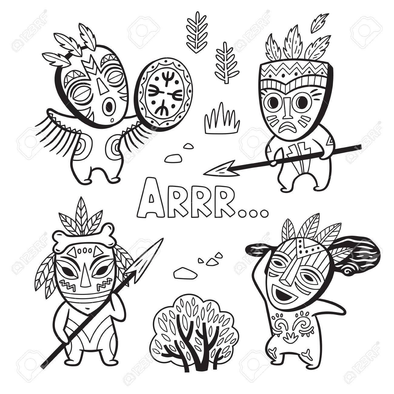 Conjunto De Gente De La Tribu De Edad De Piedra En Máscaras. Página ...