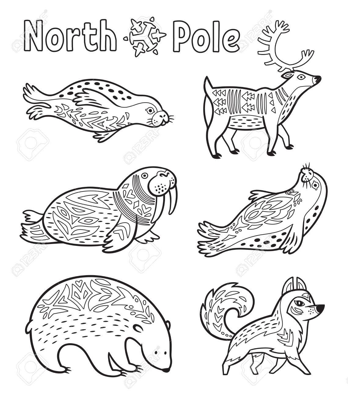 Outline Arctic Animals Set For Coloring Page Stock Vector