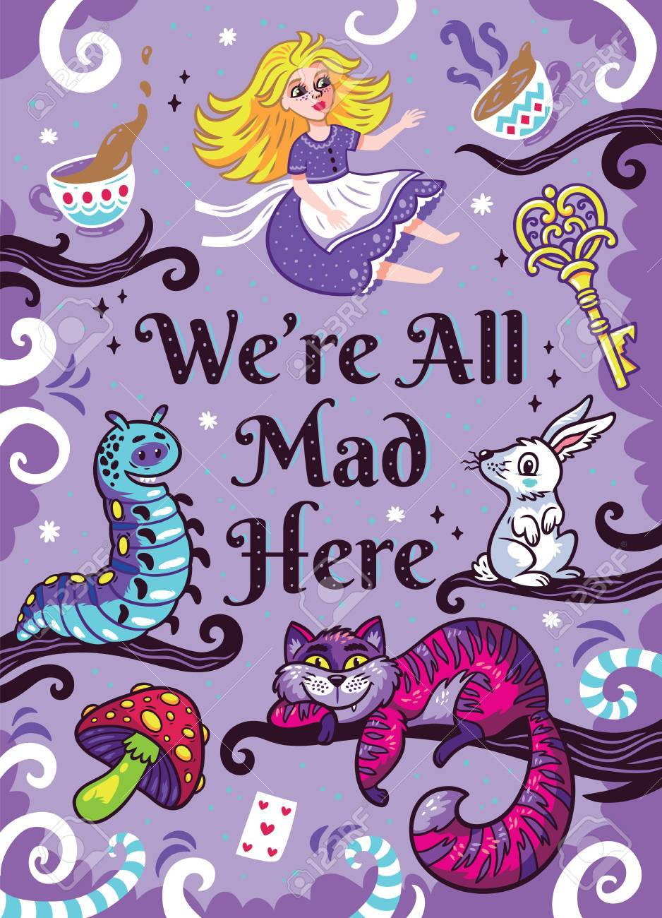 Print With Characters From Alice In Wonderland Royalty Free
