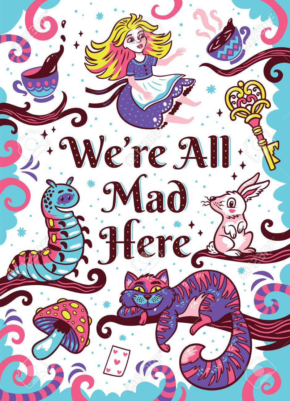 Vector we are all mad here art print fun whimsical illustration with cute characters from alice in wonderland