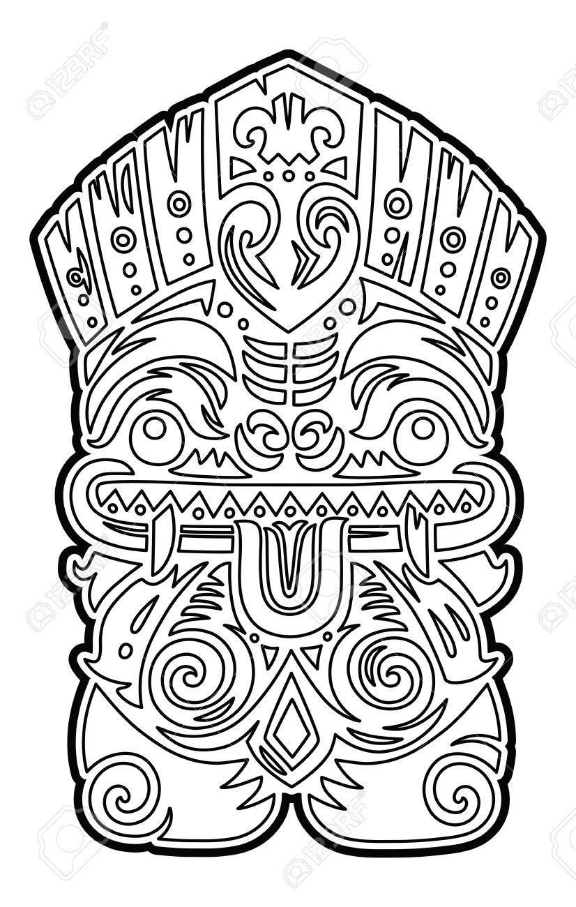 Polynesian Tiki Totem Vector Idol Mask Coloring Page Stock Photo