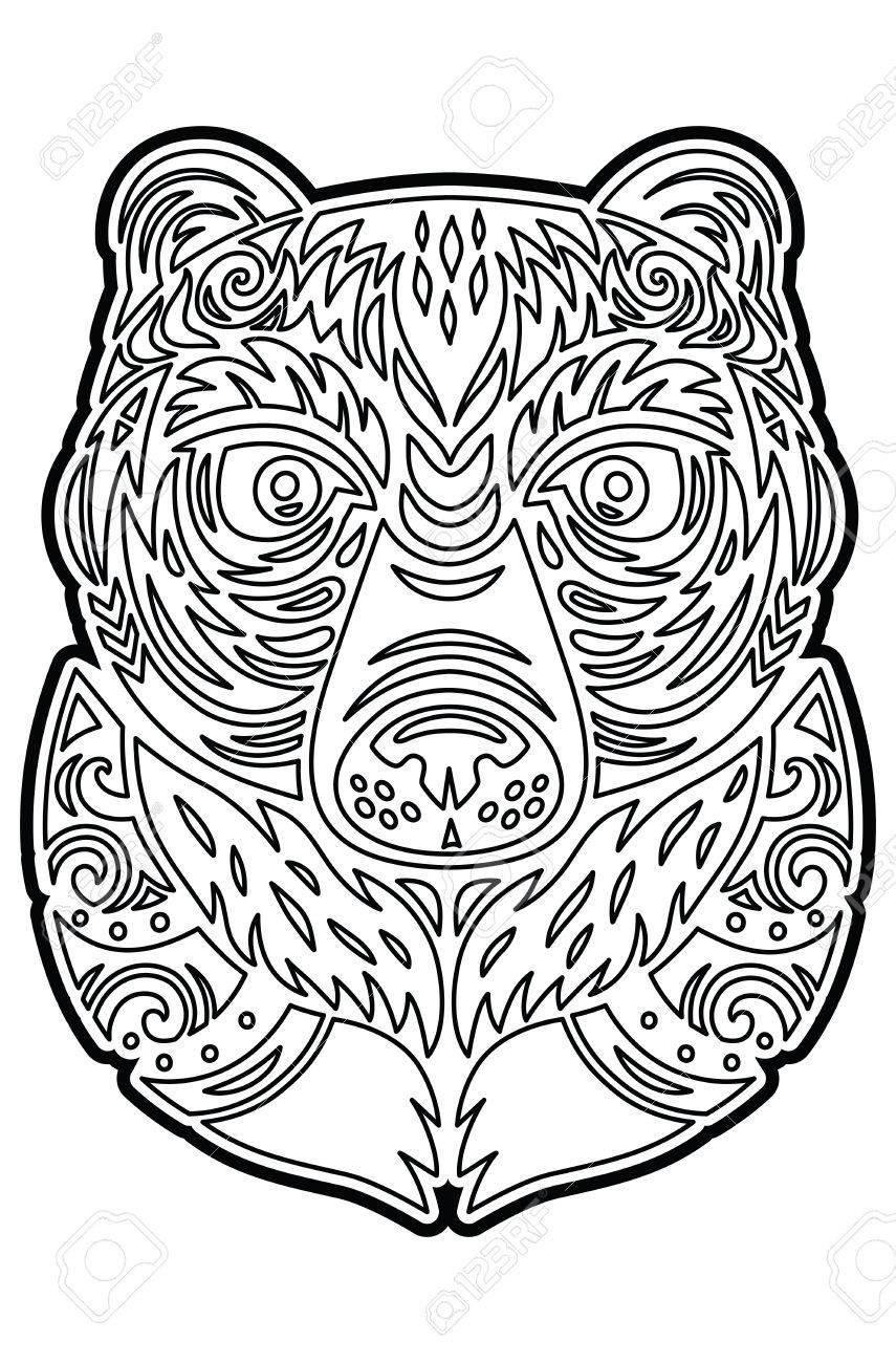 Máscara De Oso Tótem Polinesio De Tiki Dibujo Para Colorear Fotos