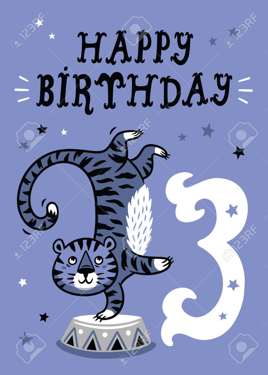 Birthday Card For 3 Year Old Baby Stock Vector
