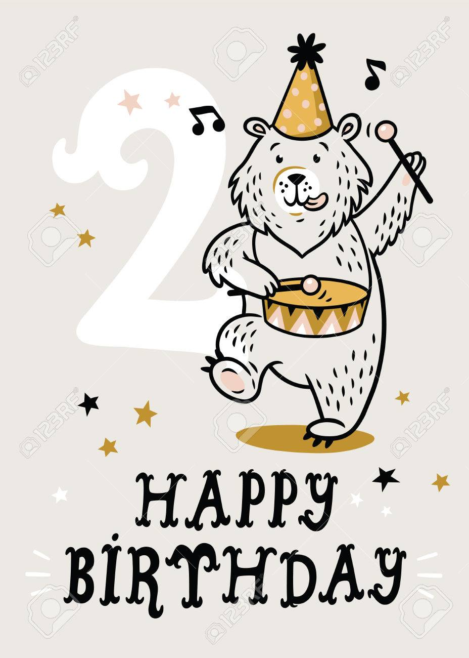 Birthday Card For 2 Year Old Baby Stock Vector