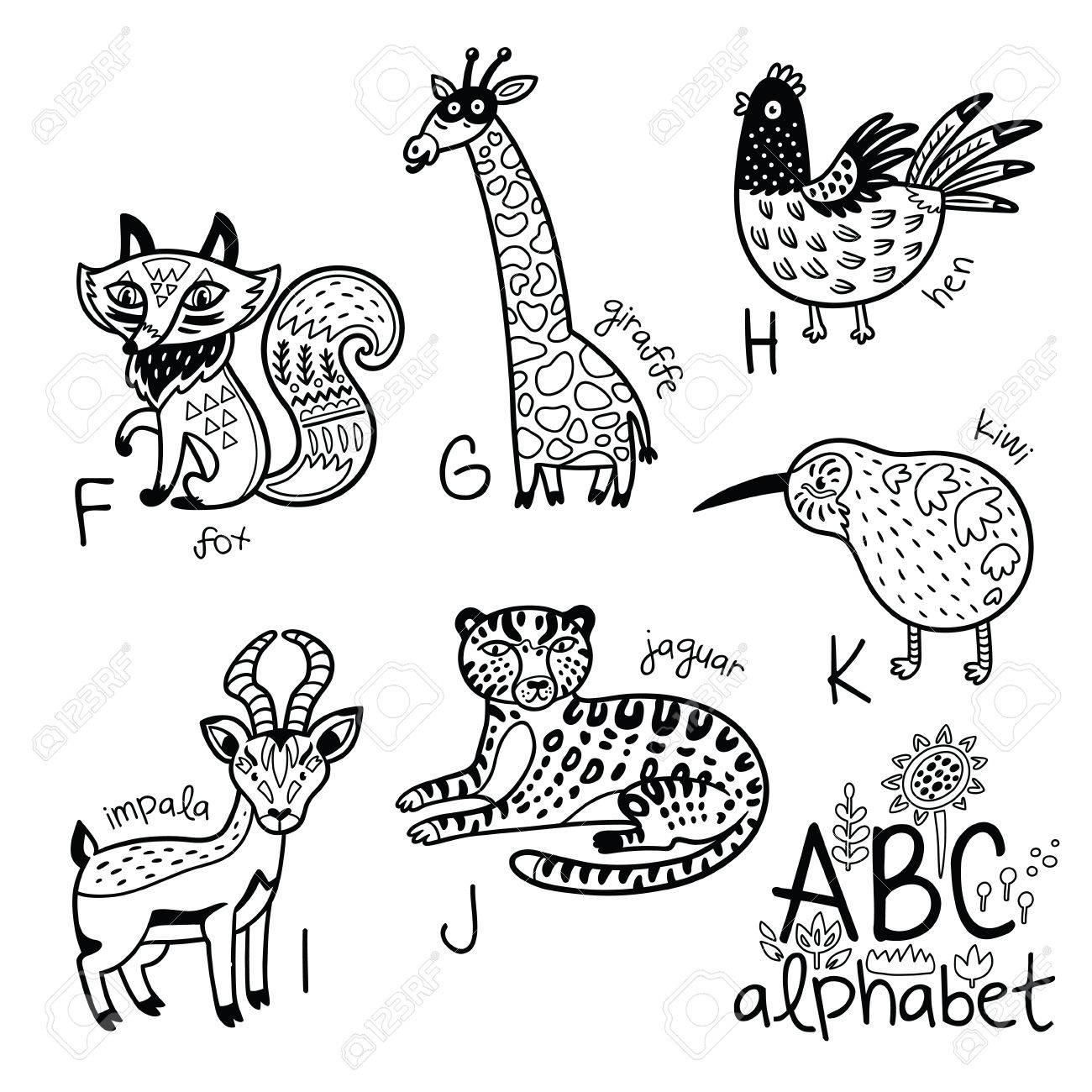 Animales Alfabeto F - K Para Niños. Vector Para Colorear ...