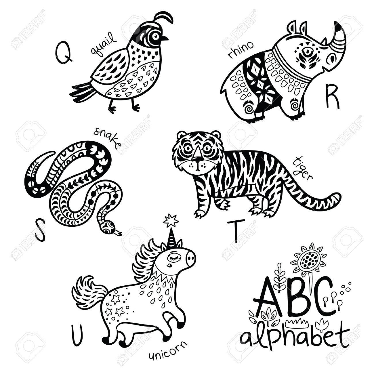 Animals Alphabet Q - U For Children Vector Coloring Page Royalty ...
