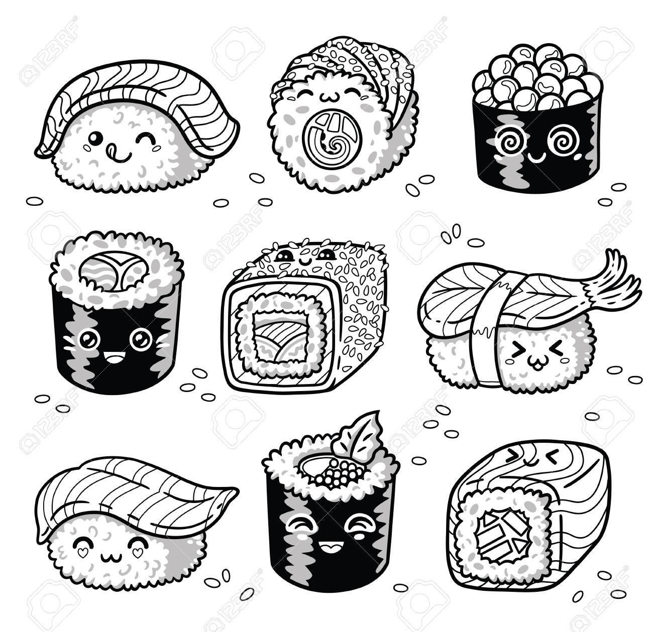 Kawaii Rolls And Sushi Manga Cartoon Set In Outline Stock Photo