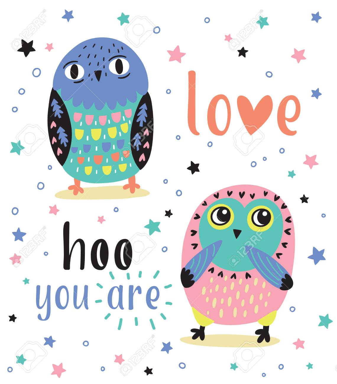 Quote love hoo you are cute romantic card with cartoon owls cute romantic card with cartoon owls for greeting m4hsunfo