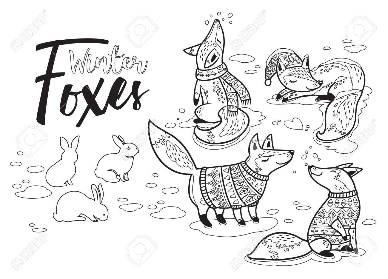Christmas Print In Ink Style. Winter Lovely Set With Cartoon ...